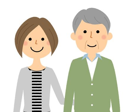 Elderly people and caregivers Vettoriali