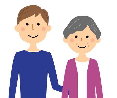 Elderly people and caregivers Illustration