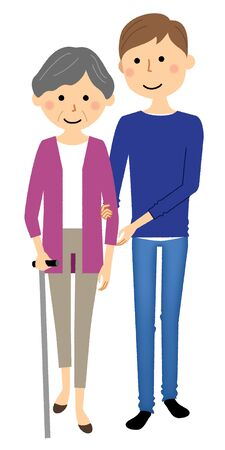 Elderly people receiving walking assistance from caregivers