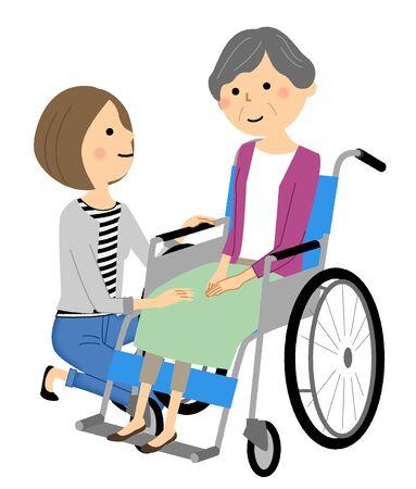 Personne âgée en fauteuil roulant avec soignant