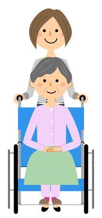 Elderly person in wheelchair with caregiver Vecteurs