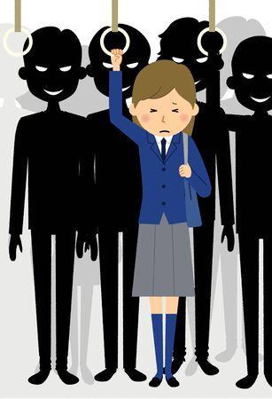 Niñas de secundaria atacadas por grupos de abusadores Ilustración de vector