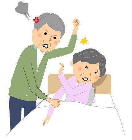 Elderly people beaten by caregiver