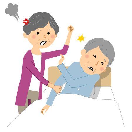 Elderly people beaten by caregiver Ilustração