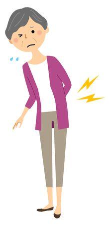 Elderly woman, Backache Vector Illustration
