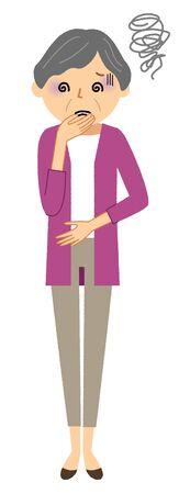 Elderly woman, Nausea Vector Illustration