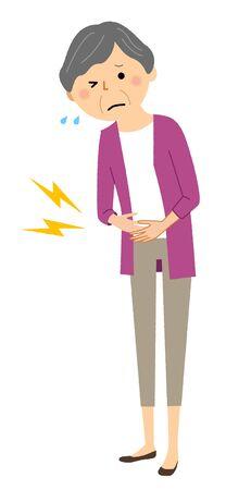 Elderly woman with stomach ache