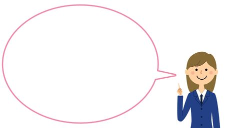 Student pointing finger, Speech bubble