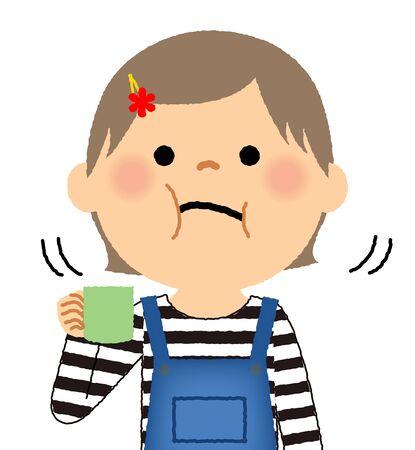 Illustration of a girl gargle