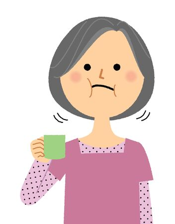 Elderly woman, Gargle Illustration