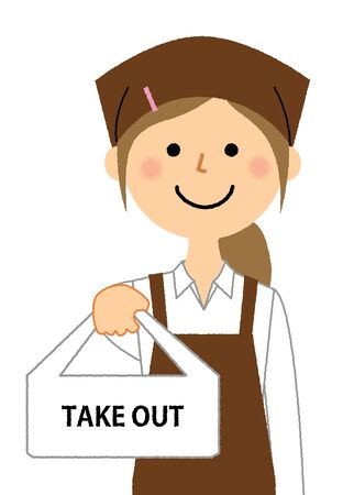 Lunch shop staff, Take out