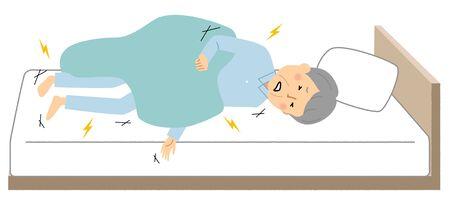 Elderly Man, Stiffness of the Whole Body Illustration