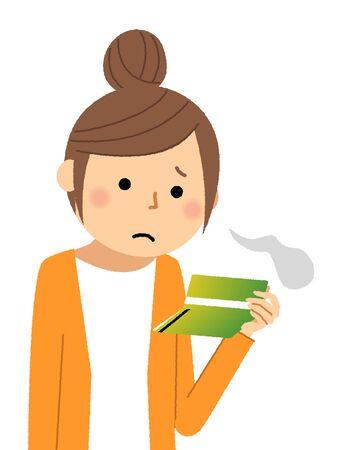 A woman sighs at a savings bankbook