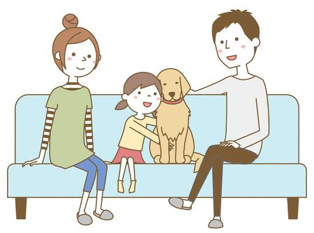 Family relaxing on the sofa