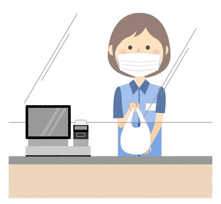 Female clerk,Cash register,Measures against splash infection