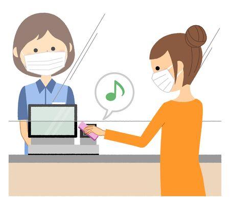 Female clerk, Electronic money, Measures against splash infection Ilustracje wektorowe