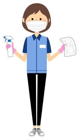 Female clerk doing sterilization Stock Illustratie
