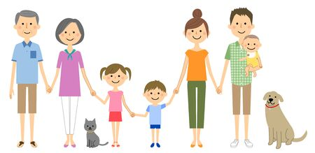 A good family holding hands Stock Illustratie