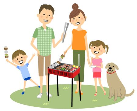 Family barbecuing Stock Illustratie