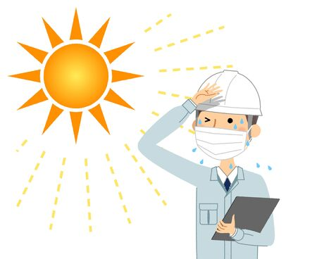 A man working at a construction site where heat stroke is likely  イラスト・ベクター素材