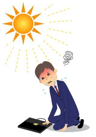 Businessman with heat stroke 写真素材 - 149426405