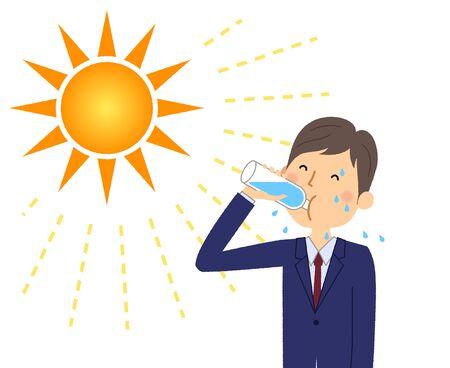 Businessman rehydrating