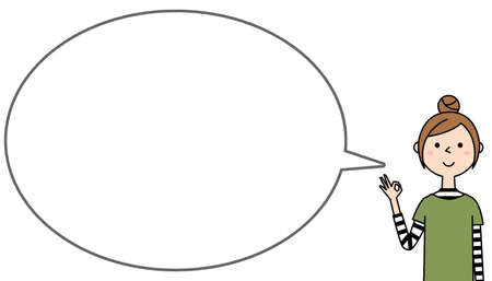 Speech bubble illustration of a young woman doing an ok sign