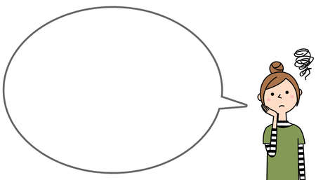 Speech bubble illustration of a young woman in trouble.