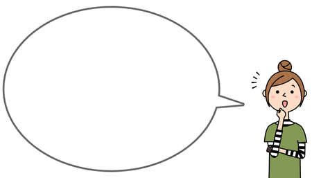 Speech bubble illustration of a surprised young woman.