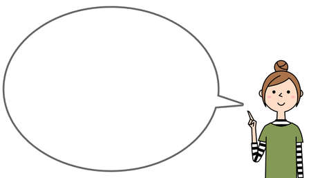 Speech bubble illustration of a young woman pointing finger. Stock Illustratie