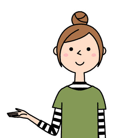 Illustration of a young woman explaining.