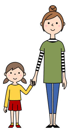 It is an illustration of a young woman holding hands with a girl.