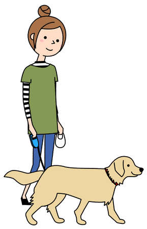 It is an illustration of a young woman walking a dog. Vettoriali