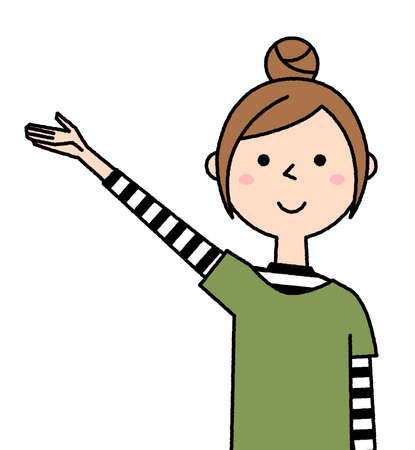 It is an illustration of a young woman who raises her hand and recommends it. Vettoriali