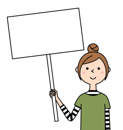 Illustration of a young woman with a whiteboard.