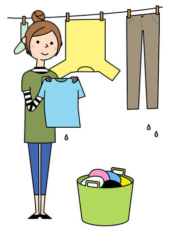 It is an illustration of a young woman drying the laundry.
