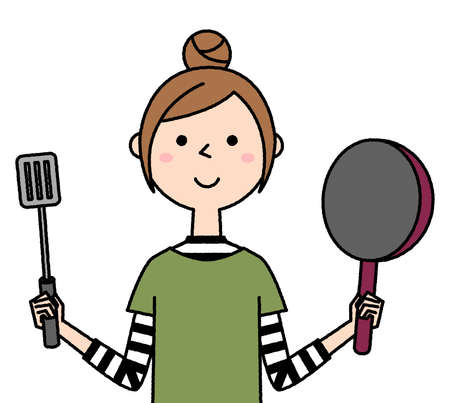 It is an illustration of a young woman cooking.