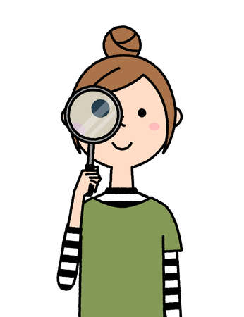 It is an illustration of a young woman looking through a magnifying glass.