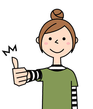 It is an illustration of an energetic young woman with thumbs up. 向量圖像