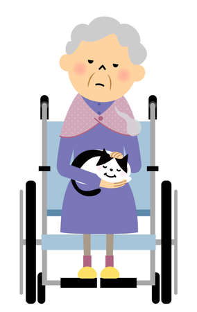 It is an illustration of a grandma sitting in a wheelchair holding a cat.