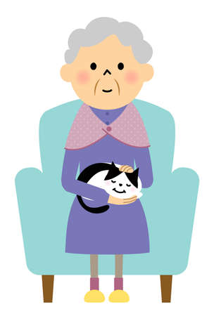 It is an illustration of an elderly woman sitting on the sofa holding a cat.