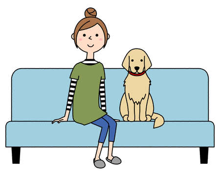 Illustration of a young woman and a dog sitting on the sofa.