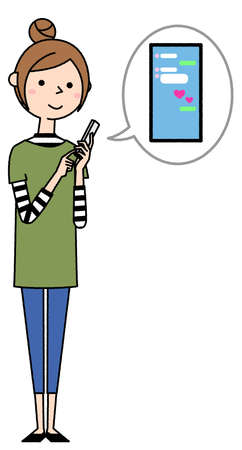 It is an illustration of a young woman operating a smartphone. I'm chatting.
