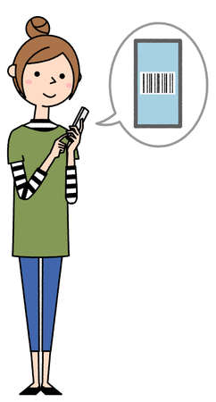 It is an illustration of a young woman operating a smartphone. I'm looking at the barcode.