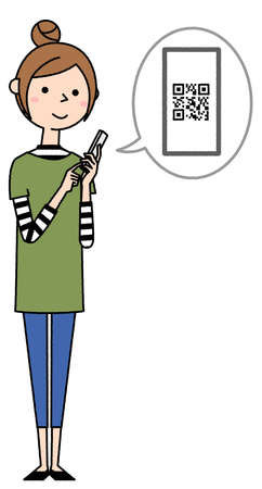 It is an illustration of a young woman looking at a smartphone. 向量圖像