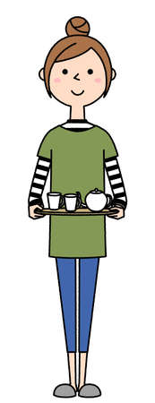 It is an illustration of a young woman carrying a tea set.