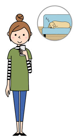 Illustration of a young woman looking at a home camera.