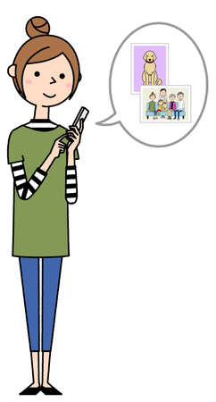 It is an illustration of a young woman operating a smartphone. I'm looking at a photo.