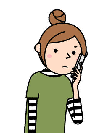 It is an illustration of a young woman staring at a smartphone.