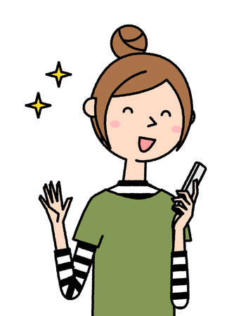 It is an illustration of a young woman who is pleased to see a smartphone. 向量圖像